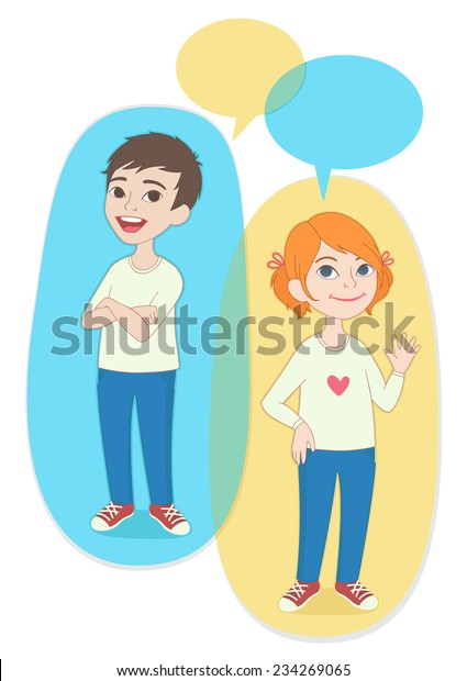 Vector Illustration Two Cartoon Style Kids Stock Vector Royalty Free 234269065