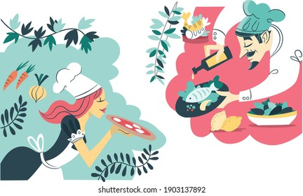 vector illustration - two chefs with pizza and fish - mediterranean food