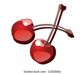 Vector illustration. Two cherries