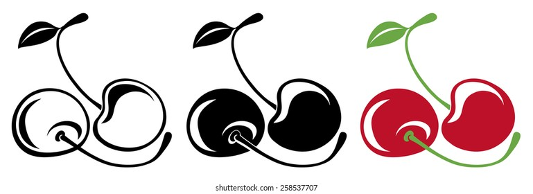 Vector illustration. Two vector cherries in color and black and white