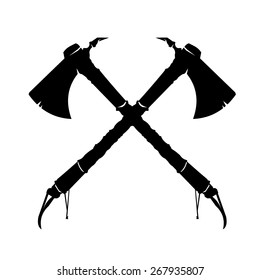 A vector illustration of two crossed American Indian axes. Crossed Axes Silhouette