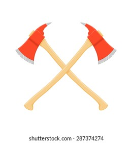 A vector illustration of two crossed axes. crossed fire axes Icon Illustration. Fire Fighting symbol.