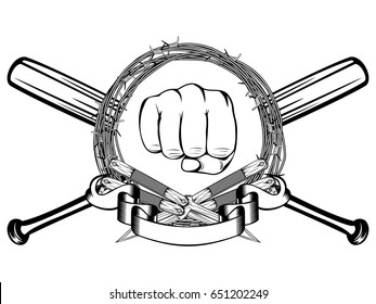 bats and barb wire images stock photos vectors shutterstock rh shutterstock com Barbed Wire Baseball Bat Crossing Barbed Wire Baseball Bat Crossing