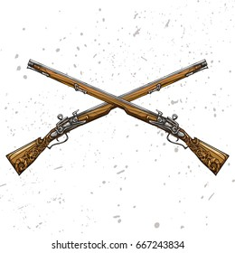 Vector illustration. Two crossed flintlock rifles. Colorful
