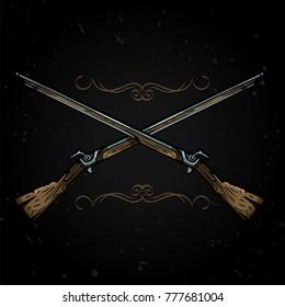 Vector illustration. Two crossed flintlock rifles.