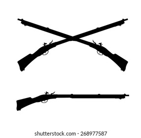 A vector illustration of two crossed old fashioned flintlock rifles. Crossed Rifles Antique musket rifles.