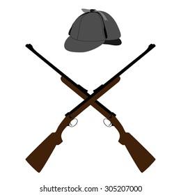 Vector illustration two crossed old rifle and deerstalker hat. Sherlock Holmes hat
