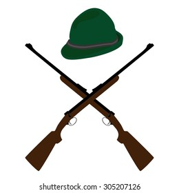 Vector illustration of two crossed old rifle and green hat. Bavarian hat. German hat