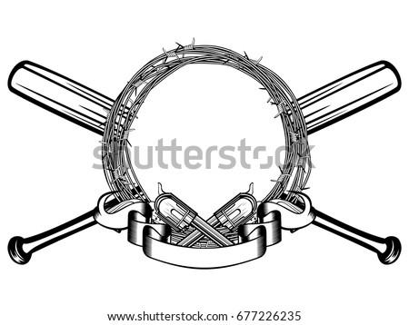 Vector Illustration Two Crossed Revolvers Baseball Stock Vector