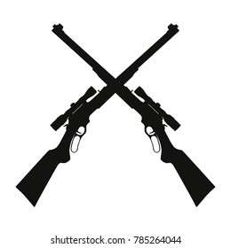 Vector illustration two crossed sniper rifle guns black silhouette icon isolated on white background.