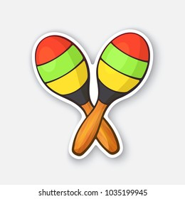 Vector illustration. Two crossed wooden maracas in colored stripes. Impact and noise instrument. Equipment for Latin and rumba music. Sticker with contour. Isolated on white background
