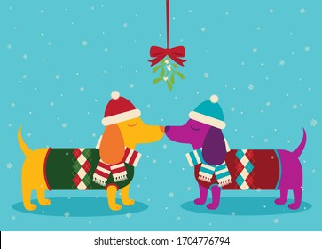 A vector illustration of two cute Dachshund wiener dogs wearing sweaters and kissing in the snow under mistletoe.