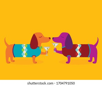 A vector illustration of two cute dapper dachshund wiener dogs wearing sweaters and drinking martinis at happy hour