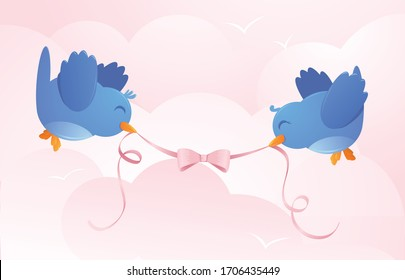 A vector illustration of two cute happy blue birds holding a pink ribbon in a sky with pink clouds