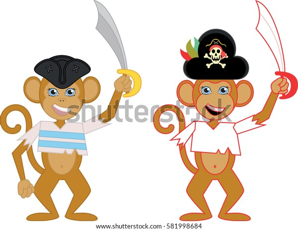 vector illustration of two cute monkeys dressed up as pirates