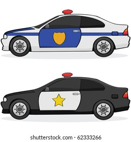 Vector illustration of two different police cars with traditional paint jobs