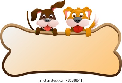 A vector illustration of two dogs holding a banner