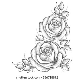 Vector illustration with two dotted rose flower and leaves in black isolated on white background. Floral elements with open rose in dotwork style for elegance decor. Corner composition