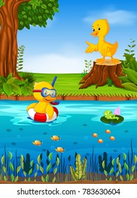 Vector illustration of Two duck and frog in the river