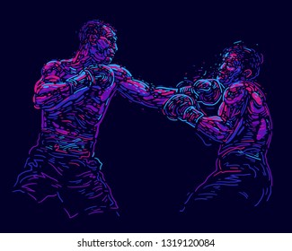 Vector illustration. Two fighting boxers. Poster for billboards sports Boxing competitions fights