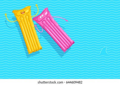 Vector illustration of two floating air mattresses having fun in the summer and afraid of a shark in the water. Yellow and pink holiday mattresses