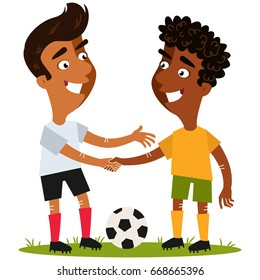 Vector illustration of two friendly cartoon soccer players standing on football field with the ball shaking hands respectfully isolated on white background