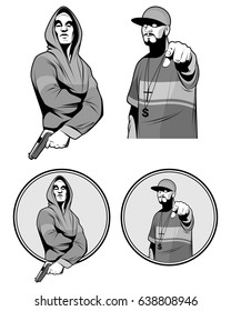 Vector illustration of a two gangster rapper