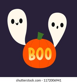 Vector illustration of two ghosts and a pumpkin that says boo