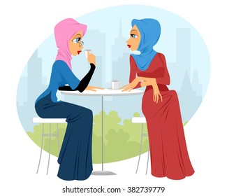Vector illustration of a two girls in cafe