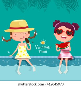 Vector illustration of two girls eating ice cream and watermelon at the pool