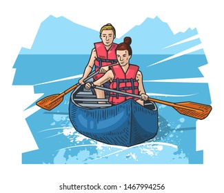 Vector illustration of two girls rowing in canoe. Sport themed poster on abstract background. Canoeing, kayaking sport