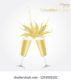 Vector Illustration Two glasses of champagne and splash