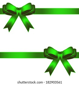 Vector illustration of Two green bow