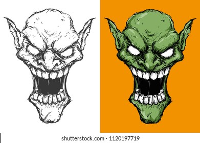 vector illustration of two green Goblin heads on white and yellow background madly laughing