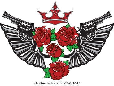 Vector illustration of two guns, steel wings, red roses and crown in tattoo drawing style isolated on white background.