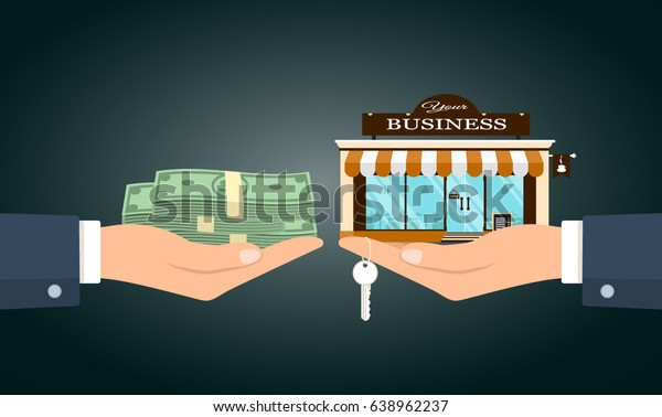 Vector illustration of two hands changing money for small cafe with your business words.