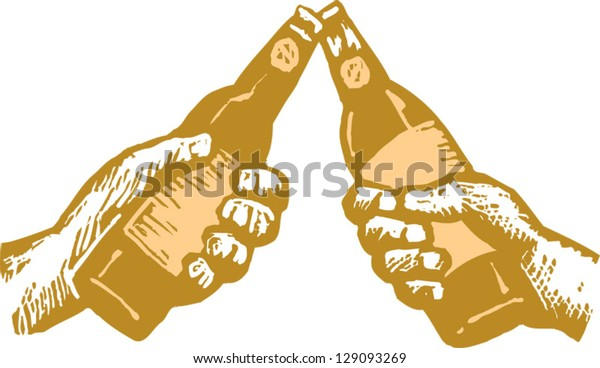 Vector illustration of two hands toasting with beer