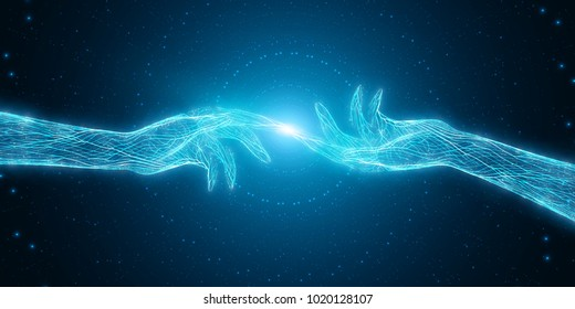 Vector illustration of two hands touch each other. Concept of connection, first contact, network. Digital cyber sense of connection. Mystic artificial intelligence minds union.
