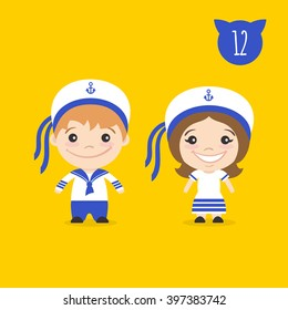 Vector illustration of two happy cute kids characters. Boy and girl in sailors costumes.