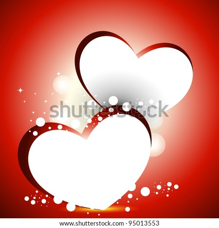 Vector Illustration Two Heart Shapes Frame Stock Vector (Royalty ...