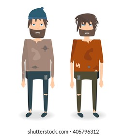 Vector illustration of two homeless people in rags. Homeless man with a beard in torn clothes. Homeless man cartoon character. Beggar
