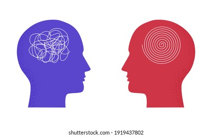 Vector illustration with two human heads with messy complicated line and orderly round element. Isolated on white background. Concept of solving problem, situation, chaos and mess, psychotherapy