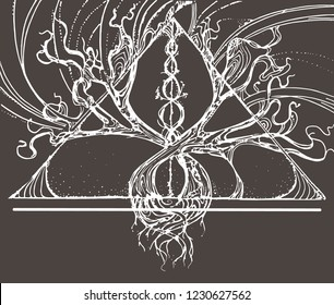 vector illustration two intertwining trees in a triangle are drawn by hand, on a dark background