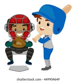 Vector Illustration of Two Kids as Baseball Player