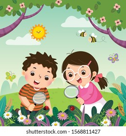 Vector illustration of two kids looking through magnifying glasses at ladybugs on plants. Children observing nature.
