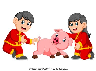 vector illustration of two kids are playing with a little pig in chinese new year