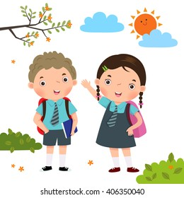 Vector illustration of two kids in school uniform going to school