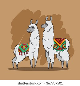 Vector illustration with two lamas in mexican style