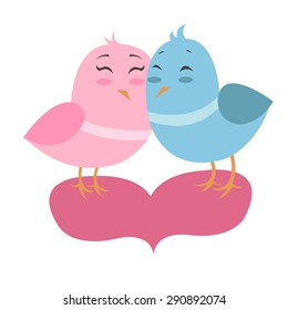 Vector illustration of two little birds in love in simple style