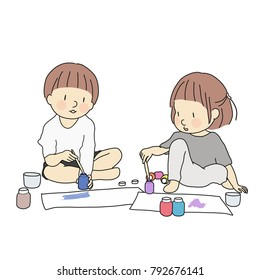 Vector illustration of two little kids, boy and girl, painting with watercolors. Early childhood development activity, education & learning, child playing, art, toy concept. Cartoon character drawing.
